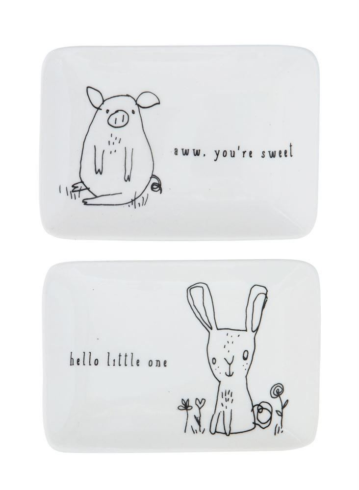 Set Of Stoneware Dish With Animal - Plates