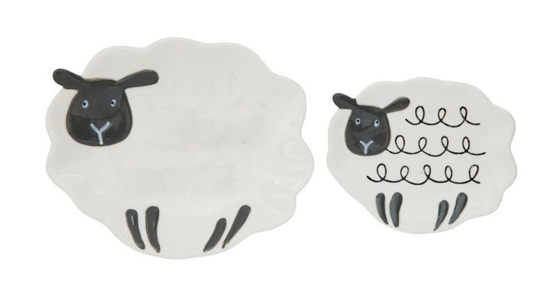 Set Of Stoneware Sheep Dish - Plates
