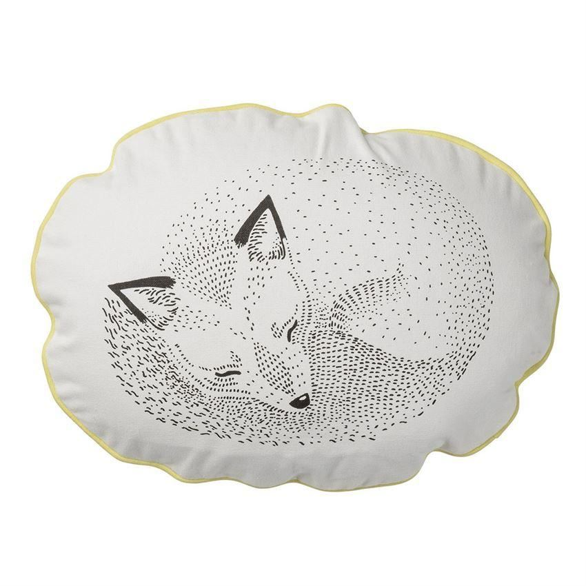 Sleeping Fox Pillow With Lemon Trim