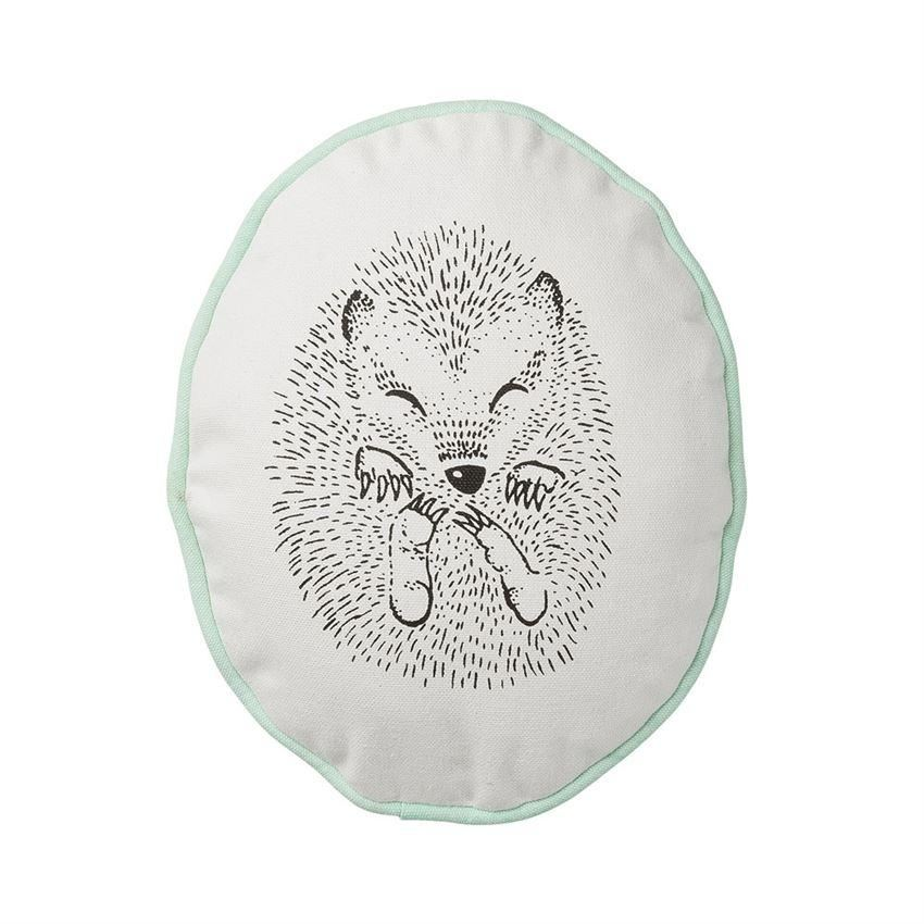 Sleeping Hedgehog Pillow With Winter Mint Trim
