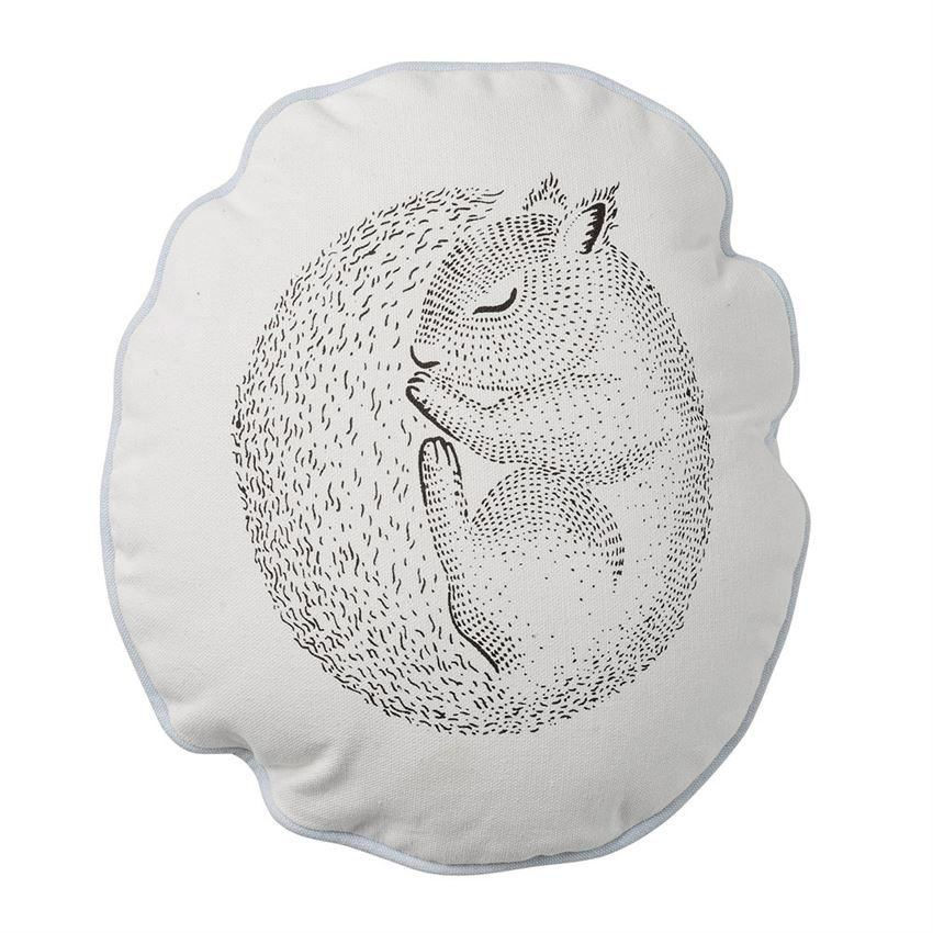 Sleeping Squirrel Pillow With Sky Blue Trim