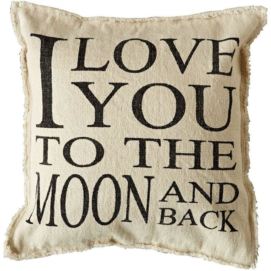 Square Cotton I Love You To The Moon And Back Pillow