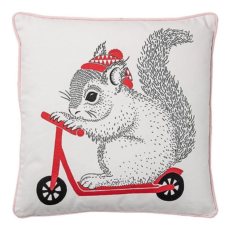 Squirrel On Scooter Cotton Pillow