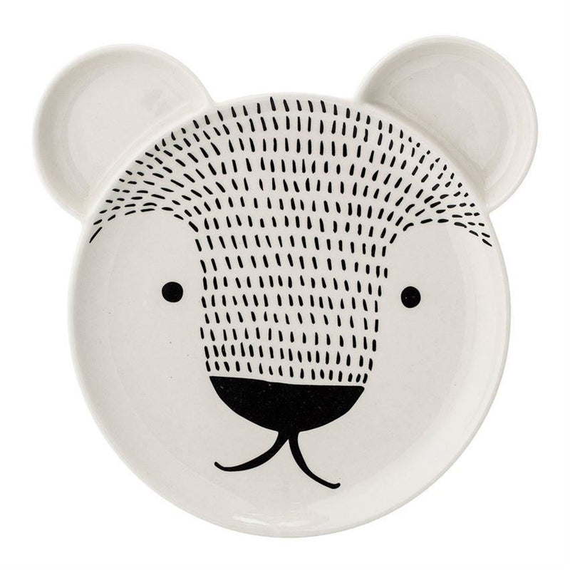 Stoneware Bear Face Plate - Plates