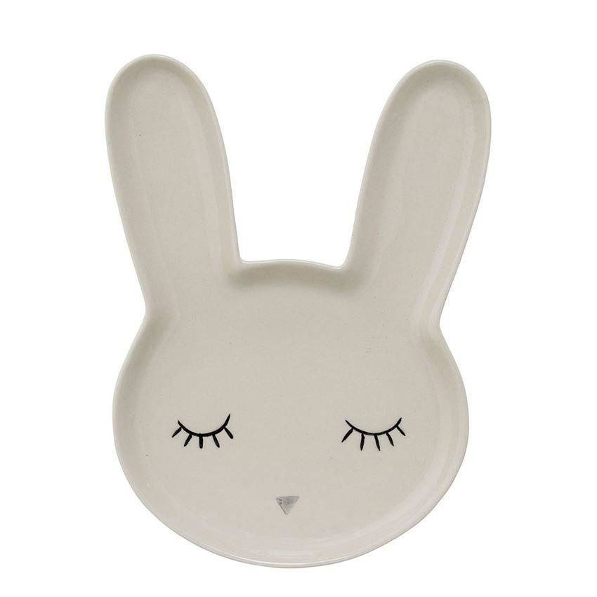 Stoneware Bunny Plate In White - Plates