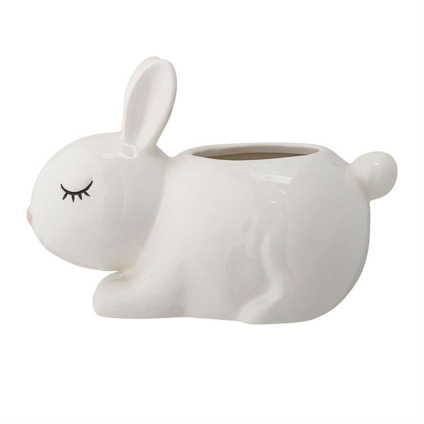 Stoneware White Bunny Jar - Decor