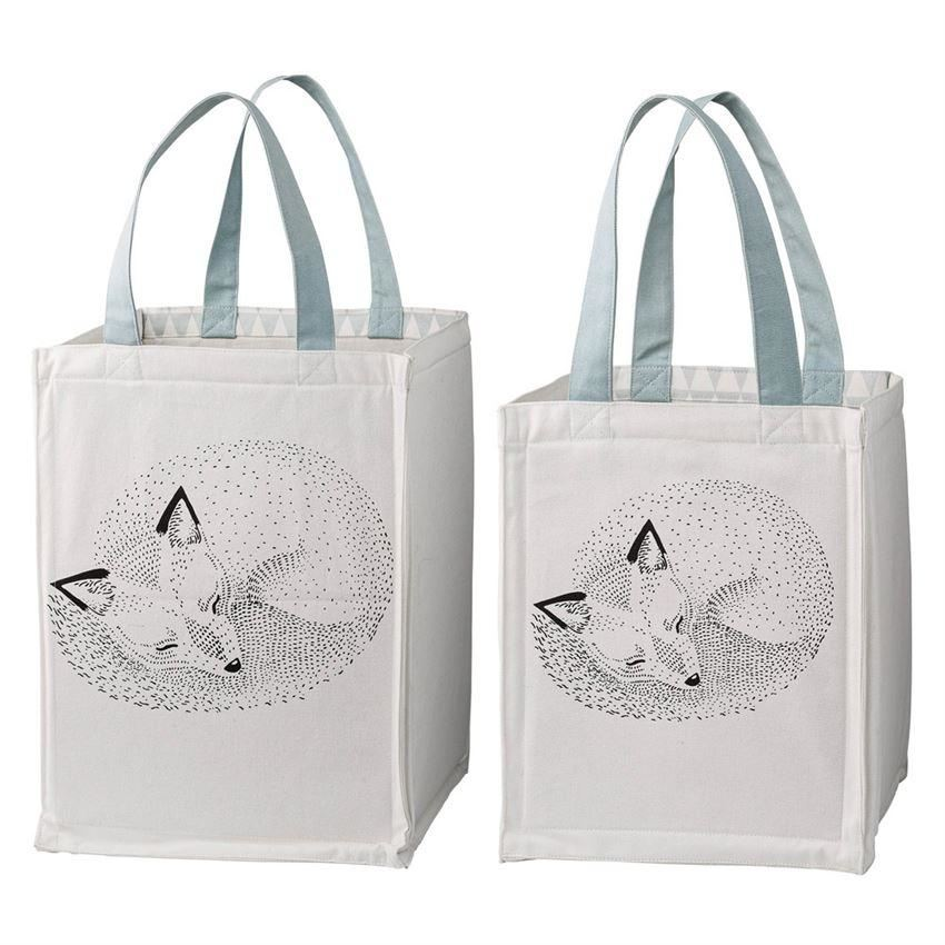Storage Bag Set With Sleeping Foxes And Blue Handles - Decor