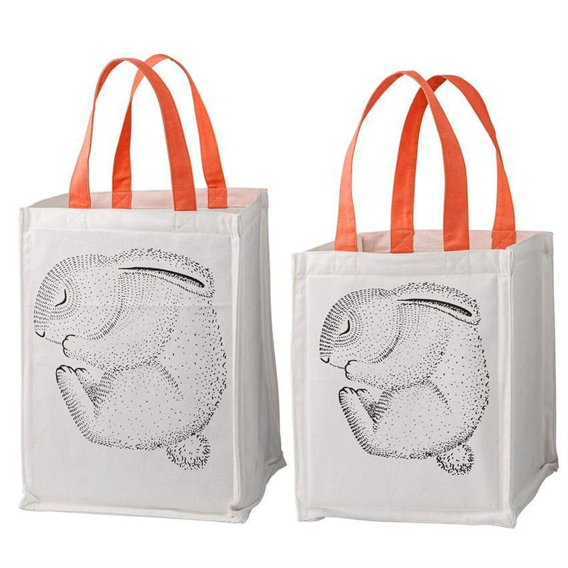 Storage Bag Set With Sleeping Rabbits And Nude Handles - Decor