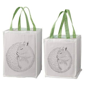 Storage Bag Set With Sleeping Squirrel And Mint Handles - Decor