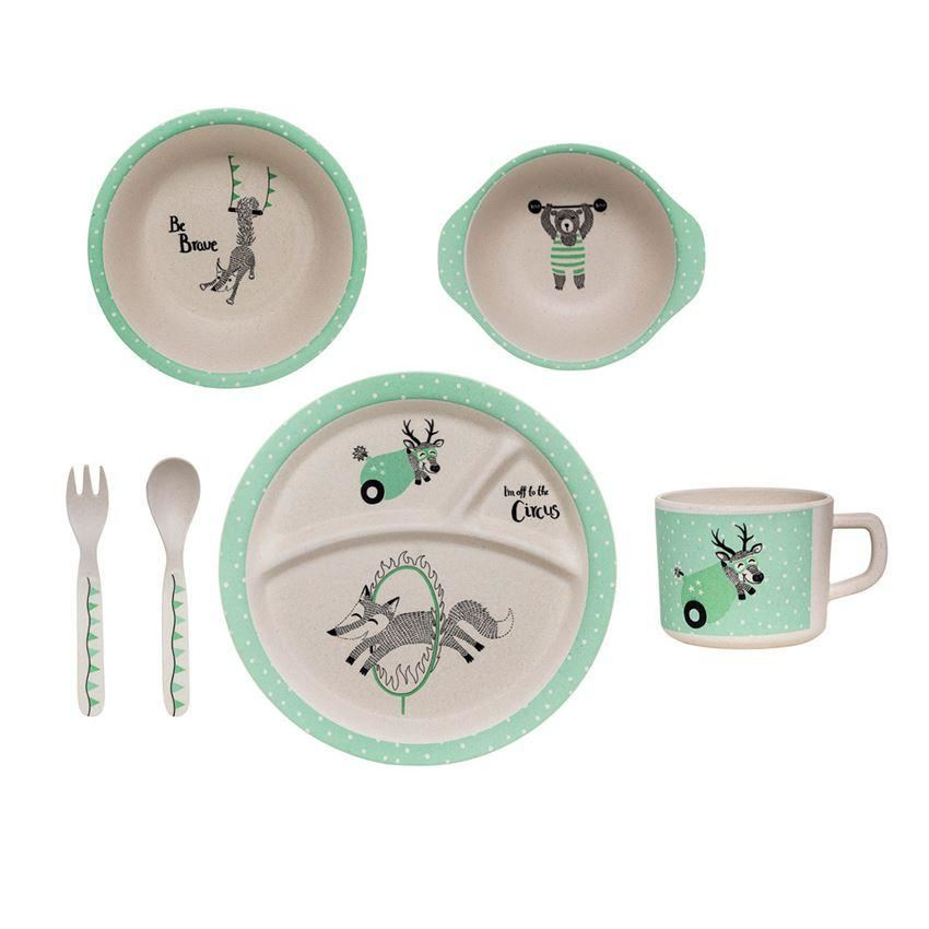 White And Mind Bamboo Kids Serving Gift Box - Plates