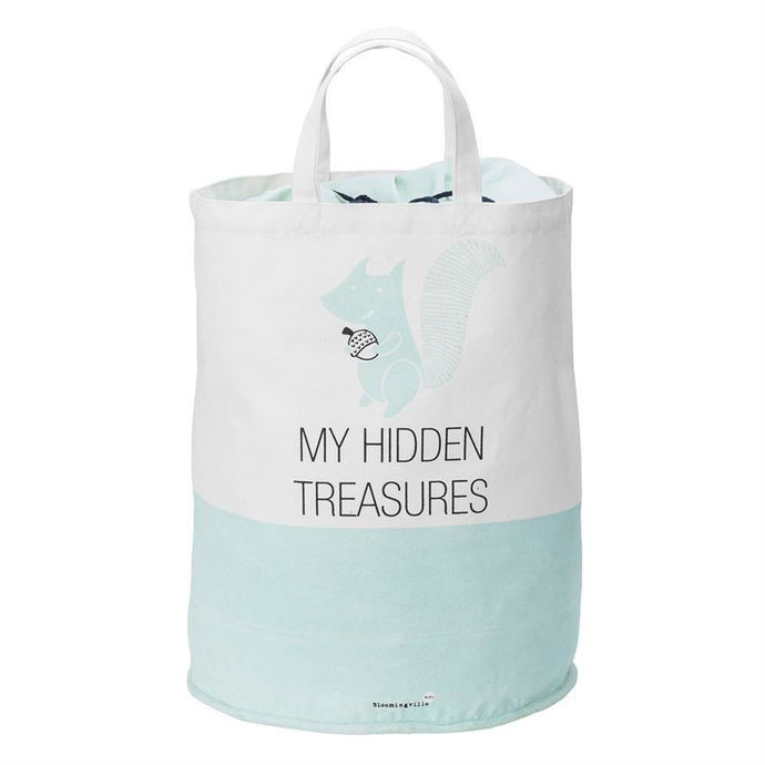 White And Mint My Hidden Treasures Cotton Storage Bag - Decor