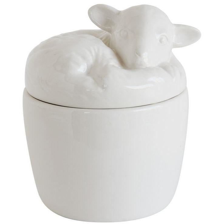 White Ceramic Box With Lamb Lid - Bowl