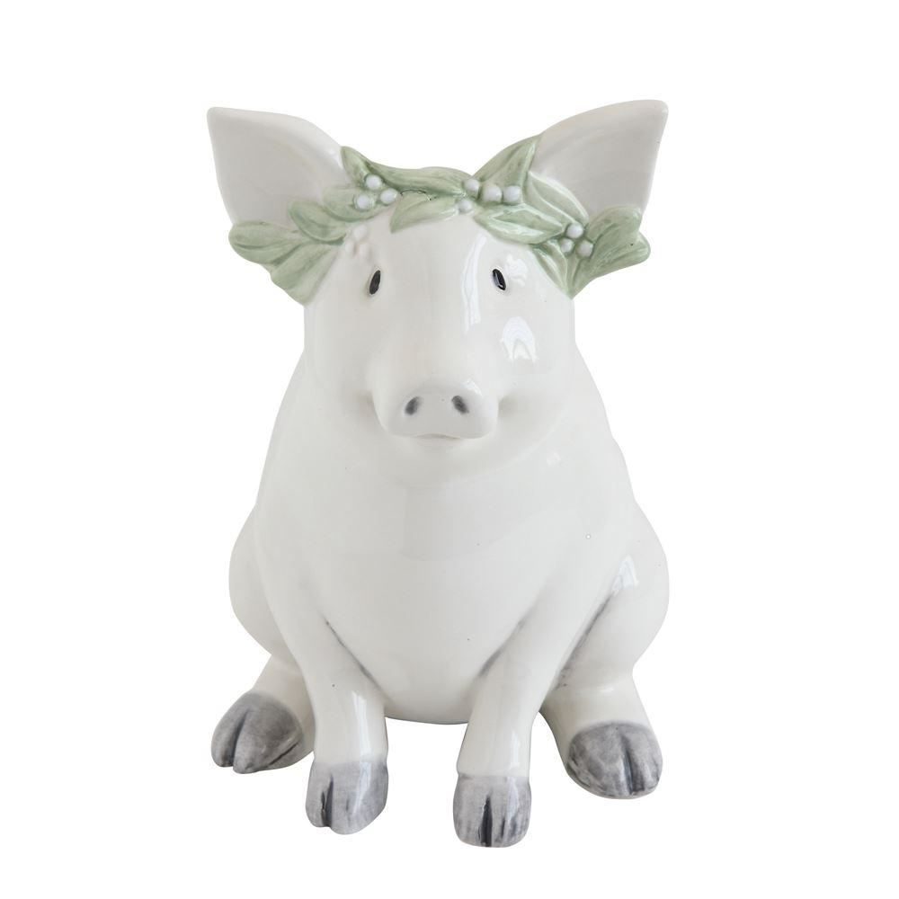White Ceramic Piggy Bank - Decor