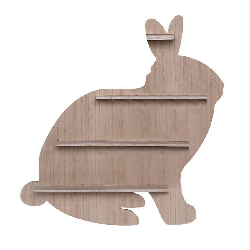 Wood Bunny Shaped Shelf - Wall Decor