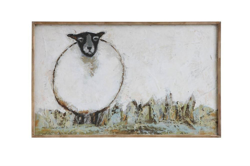 Wood Framed Canvas Wall Decor With Sheep
