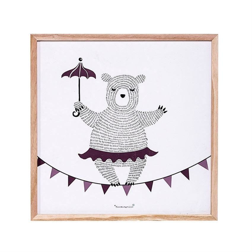 Wood Framed Dancing Bear Wall Décor - Decor