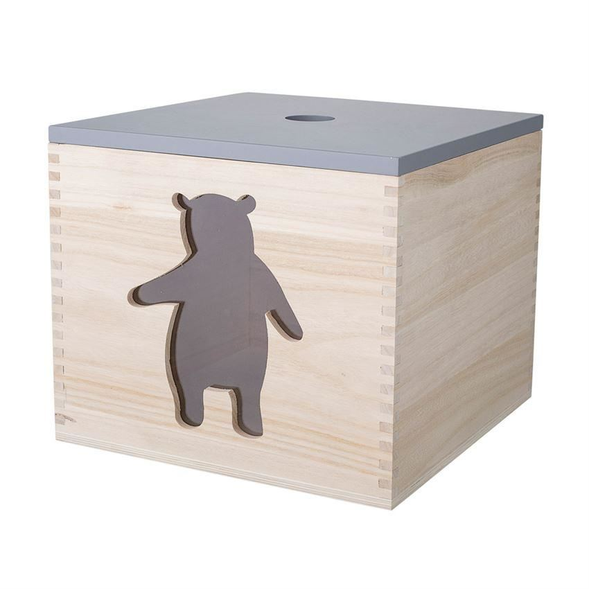 Wood Storage Box With Bear And Lid - Decor
