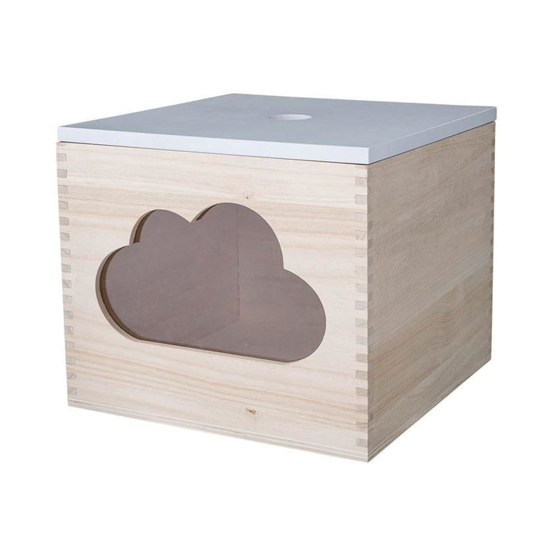 Wood Storage Box With Cloud And Lid - Decor