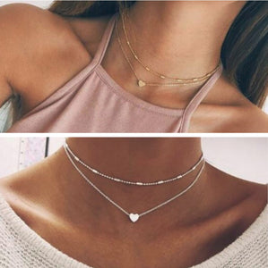 68db2c9479b3 Silver Gold Colored 2 Double Layer Beaded Chain Choker Necklace Heart  Pendant