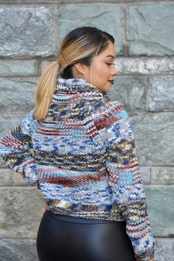 Cozy Up Multi Color Crop Sweater