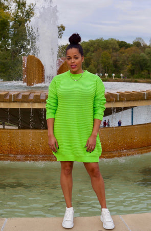Twisted Lime Sweater Dress