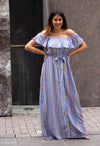 The Santorini Striped Maxi Dress