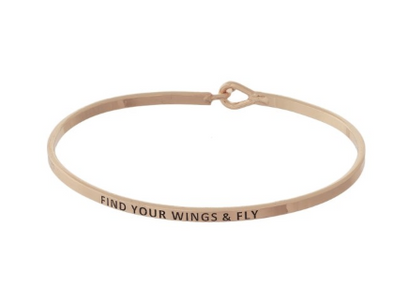 Find Your Wings & Fly Bracelet (Rose Gold)