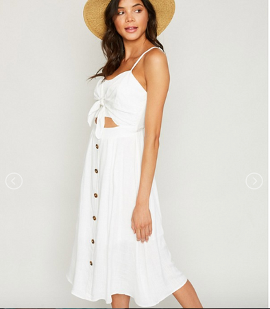 The Havana White Linen Button Down Dress