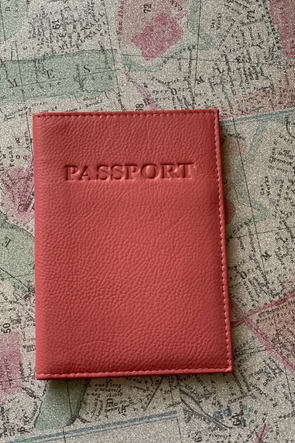 Pink Genuine Leather Passport Case