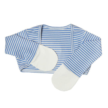 Scratch Sleeves with Zinc-Infused Mittens (Blue Stripes) - Eczema Oasis