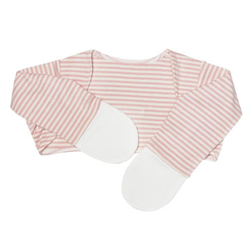Scratch Sleeves with Zinc-Infused Mittens (Pink Stripes) - Eczema Oasis