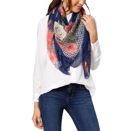 INC Houndstooth Floral Square Scarf Blue Size OSFA-The Pink Pigs, A Compassionate Boutique