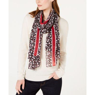 Calvin Klein Floral Stripe Chiffon Scarf in Red or Blue
