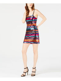 LEYDEN Lace Up Sequin - Womens Multi/Fushcia Striped Spaghetti Strap Party Dress XL