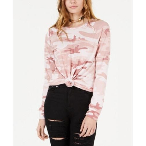 Love Tribe Juniors' Printed Knot-Front Long-Sleeved T-Shirt Med Pink sz Small - The Pink Pigs, A Compassionate Boutique