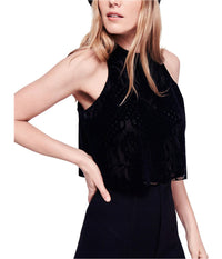 Free People Womens Walk This Way Halter Top Shirt - Blk Medium