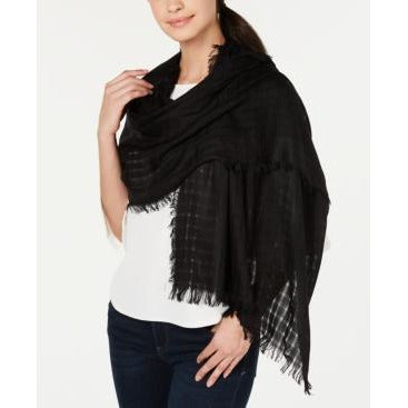 Dkny Lightweight Open Weave Scarf - Black-The Pink Pigs, A Compassionate Boutique