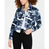 Jou Jou Juniors' Camo Printed Denim Jacket Blue Camo Small-The Pink Pigs, A Compassionate Boutique