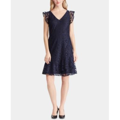 Lauren Ralph Lauren Womens Lace Ruffled Cocktail Dress Navy Size 16 - The Pink Pigs, A Compassionate Boutique