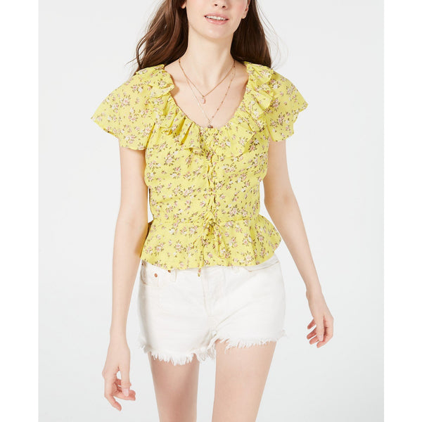 Planet Gold Juniors' Printed Lace-Up Peplum Blouse Yellow Sz.