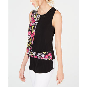 INC International Concepts Twisted Asymmetrical Top Floral Print Small-The Pink Pigs, A Compassionate Boutique