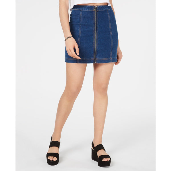 Tinseltown Juniors' Zip-Front Denim Mini Skirt-The Pink Pigs, A Compassionate Boutique