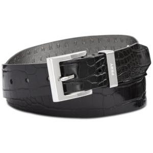 Dkny Croc-Embossed Faux Leather Belt - Black - Size Small - Vegan - The Pink Pigs, A Compassionate Boutique