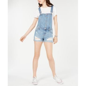 Tinseltown Juniors' Ripped Cuffed Denim Shortalls Med Blue XL-The Pink Pigs, A Compassionate Boutique
