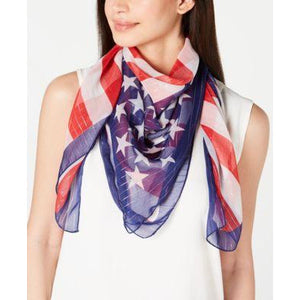 Collection Xiix Metallic Stripe Flag Scarf - Red/White/Blue - The Pink Pigs, A Compassionate Boutique