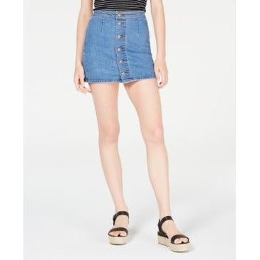 Tinseltown Juniors' Button-Down Denim Mini Skirt Med Wash-The Pink Pigs, A Compassionate Boutique