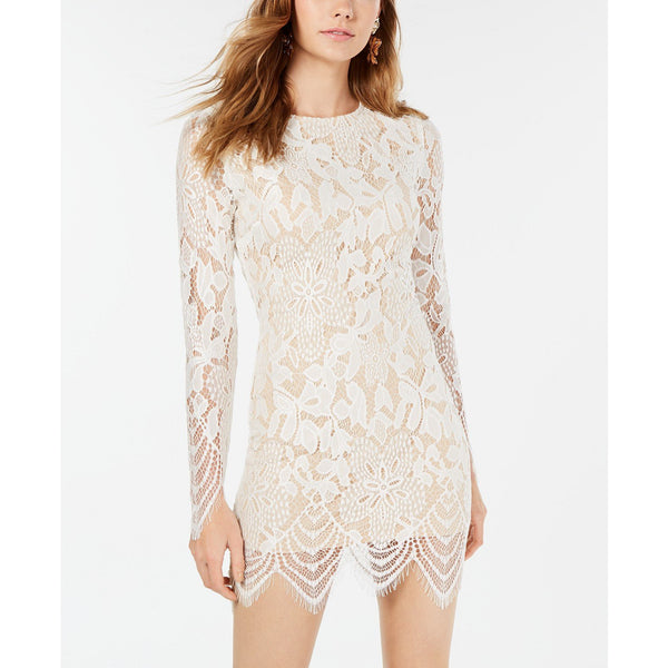 Material Girl Juniors' Lace Bodycon Dress White-The Pink Pigs, A Compassionate Boutique