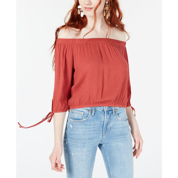 Polly & Esther Juniors' Off-The-Shoulder Tie-Sleeve Crop Top, Rust XL-The Pink Pigs, A Compassionate Boutique
