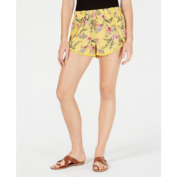 Be Bop Juniors' Wrapped Pom Pom Shorts Yellow/coral-The Pink Pigs, A Compassionate Boutique