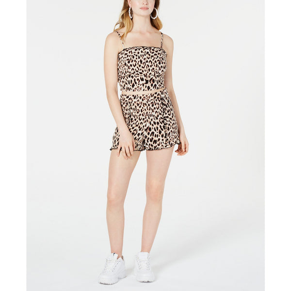 Material Girl Juniors' Printed Ruffle-Trimmed Crop Top Leopard Print sz Small-The Pink Pigs, A Compassionate Boutique